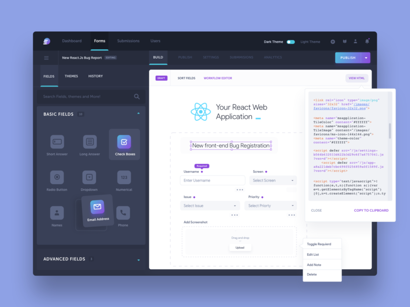 Form Automation Software: Creating a Form product design form forms form design form fields form builder form elements fields field drag and drop dark ui dark mode dark theme react reactjs html css front-end development front-end forms creation workflow