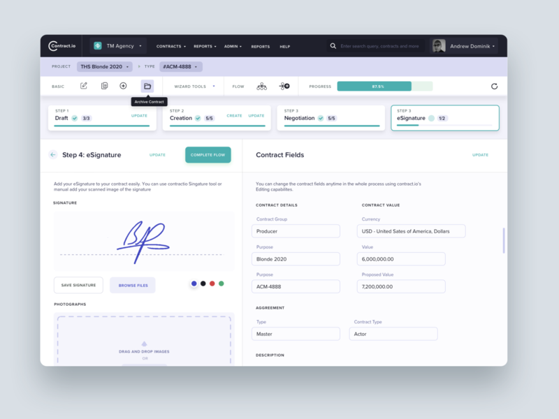 Contractio: Signing Contract Screen for Contract Management SaaS
