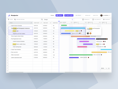 Woodpecker: Gantt Chart and Table View Hybrid for PM SaaS status collaboration pm project management sheets excel table view table gantt gantt chart views cloud app uxui userinterface saas reactjs react front-end b2b product design