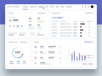 Dashboard Screen for Quoting Software renewal management proposal management cpq client portal quote design catalog management contract management pricing management quoting software quotation dashboard app dashboard design collaboration b2b uxui cloud app userinterface saas product design dashboard