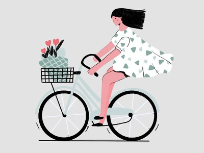 Bicycle in Amsterdam cute bicycle character modern clean people visual design artwork vector bike woman avatar minimal illustrator illustration