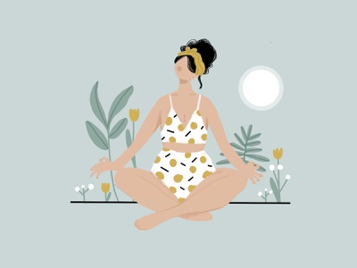 Sunset  Yoga botanical illustration 2d yoga pose yellow yoga vector people modern design character avatar minimal illustrator illustration