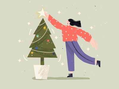 Christmas Tree 2d artwork people design modern character avatar minimal illustrator illustration