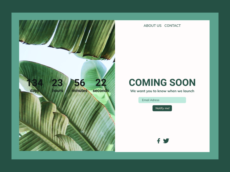 Coming Soon Page greenhouse plants comingsoon desktop web ui