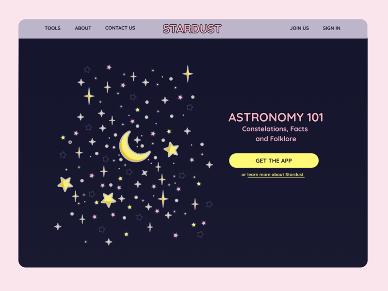 STARDUST website astronomy landing page app ui