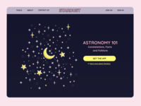 STARDUST website astronomy landing page app ui