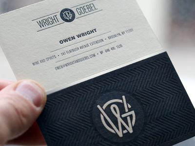 Wright & Goebel Business Cards business card design letterpress type typography icon logo branding design