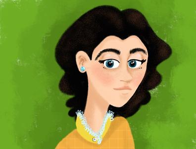 Female Character or Avatar gorgeous woman black hair beautiful avatar design procreate digital character design female illustration art illustration character avatar