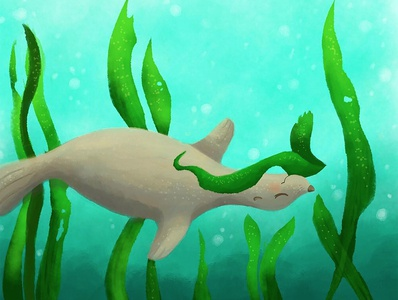 Playful Swim procreate digital art swimming sealion playful playtime seaweed ocean seal