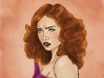 Julia female character procreate digital redhead female fashion