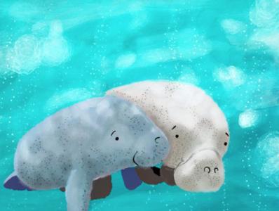 Manatee Goodness animal art animal illustration digital animalart animal manatee whimsical