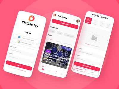 Chilli.today - social media app UI/UX design android ios iphone apple mobile landing application website branding illustration brand app logo web ux design ui