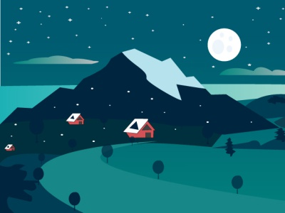 Landscale design moon stars sky hill cmyk color 300dpi modern design illustration simple vector art landscale landscape design