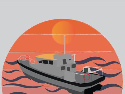 Boat and river landscape design brand 300dpi teespring colorful sky cartoon illustration funny design simple modern t shirt design vector illustration logo boat
