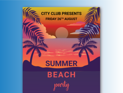 summer beach party flyer design modern illustration cloud sun trees travel landing page sea sunset branding party flyer flyer party beach summer