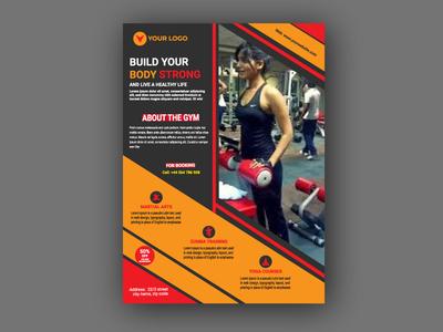 Gym flyer design template corporate business body building bodybuilder gym app gymnastics fit fitness template design flyer gym