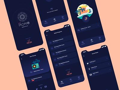 Radio Momo — App & Screens ux mobile app mobile ui design whitespaces user experience design clean ui