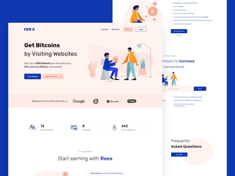 Reex — Get Bitcoins [Concept] dashboard landing page concept ui design whitespaces user experience design web ux clean ui