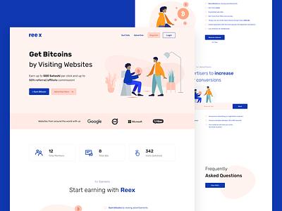 Reex — Get Bitcoins [Concept] dashboard landing page concept ui design whitespaces user experience design web ux clean ui