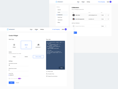 AnnounceKit - Dashboard ux icon logo announcekit changelog page changelog pages changelog user experience design web ui