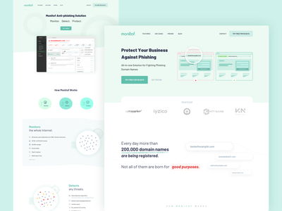 Monitof - Landing Page mobile icon app ux whitespaces user experience design web clean ui