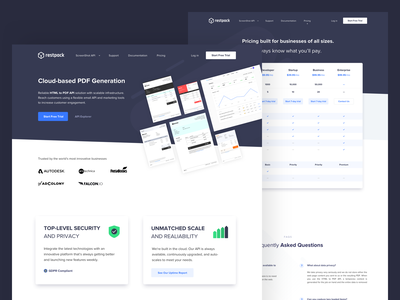 Restpack.io - Product Page security cloud based pdf generation web design product designs product design product page concept ui design mobile whitespaces user experience design web ux ui clean