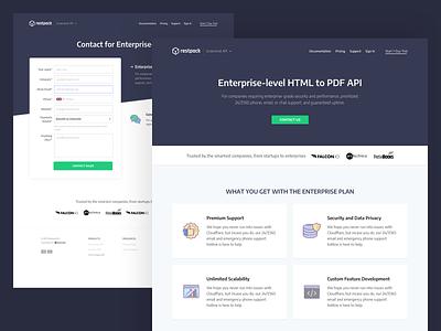 Restpack.io - Enterprise Page screenshots html to pdf enterprise ux contact page pricing enterprise pdf generation ui design landing page whitespaces user experience design web ux ui clean
