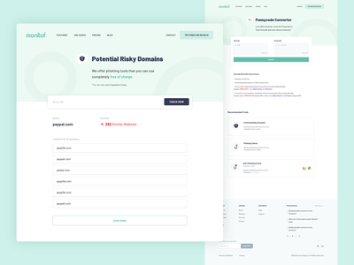 Monitof - Tools domain anti-phishing security system punnycode punnycode converter potential phishing security app security tools tools page landing page ui design whitespaces user experience design web ux ui clean