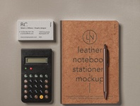 Free Leather Cover Psd Notebook Mockup Set