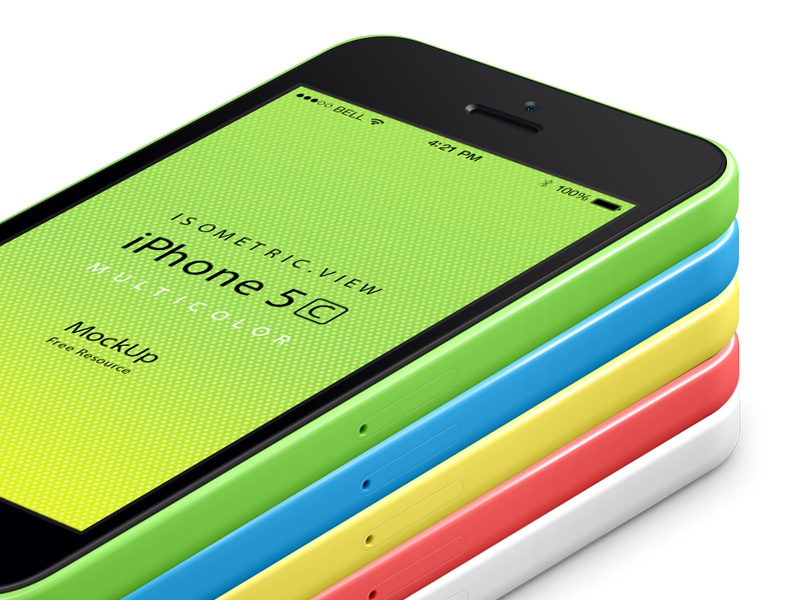 Perspective iPhone 5C Psd Vector Mockup perspective iphone 5c psd vector mockup