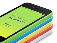 Perspective iPhone 5C Psd Vector Mockup