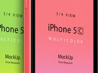 Three Quarter View iPhone 5C Psd Vector Mockup