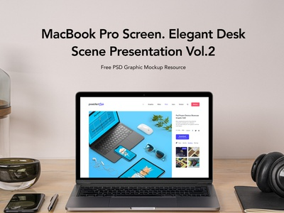 Free Desk Psd MacBook Pro Scene Set Vol2 macbook pro mockup macbook mockup mockup
