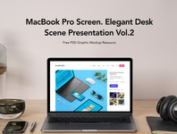 Free Desk Psd MacBook Pro Scene Set Vol2 macbook pro mockup macbook mockup mockup