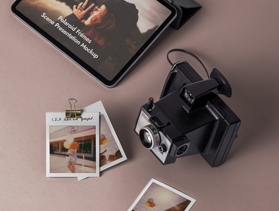 Free Psd Polaroid Mockup Frames Set ipad pro camera polaroid mockup polaroid