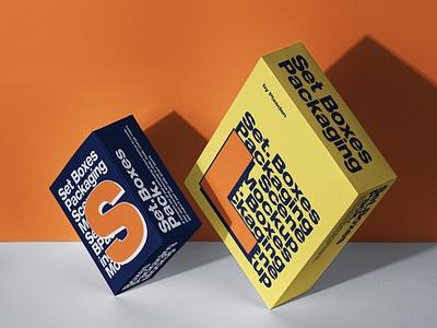 Free Packaging Psd Box Mockup Set Scene packaging mockup box mockup