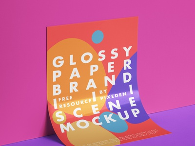 Free Branding Glossy Psd Paper Mockup poster mockup branding mockup paper mockup