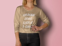 Free Psd Woman Long Sleeve T-Shirt Mockup