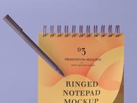 Free Psd Ringed Notepad Mockup