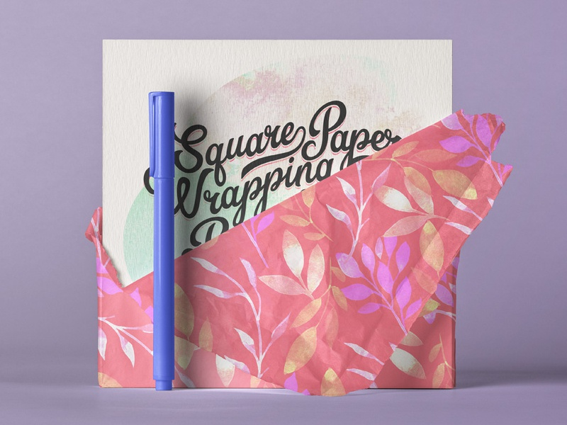 Free Square Paper Wrapping Mockup mockup wrapping paper square