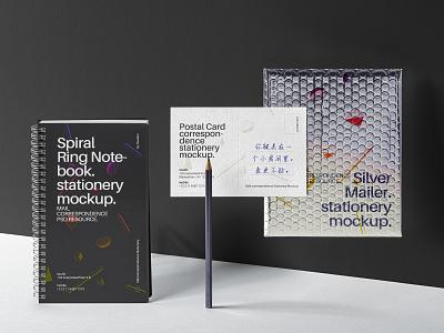 Free Mailing Psd Stationery Mockup Set postal card mockup envelope mockup