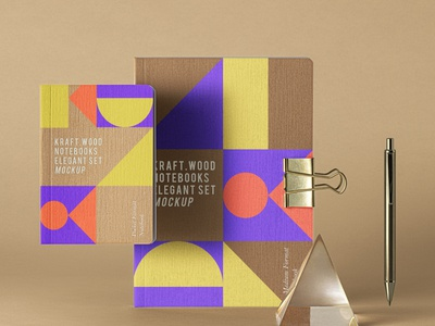 Free Psd Kraft Notebook Set Mockup notebook mockup