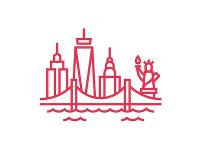 New York City partners brand empire state building statue of liberty marco fesyuk illustration brooklyn bridge new york city icon nyc city