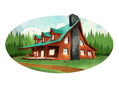 Goodison's Hunting Camp & Lodge illustration marco fesyuk cabin wilderness new hampshire camp woods