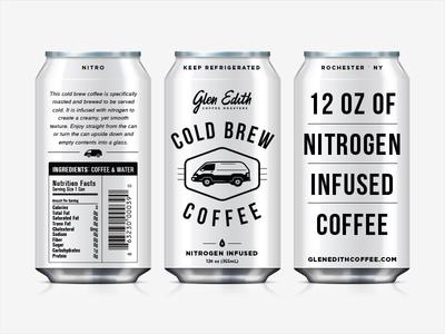 Glen Edith Nitro Coffee Can roast hipster logo brand marco fesyuk can pour coffee parlor icons van