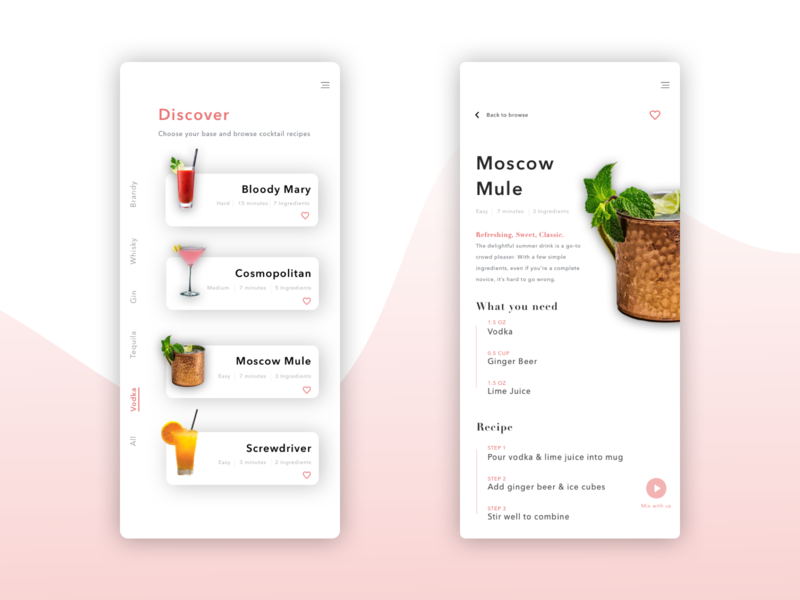 Cocktail App Concept ux product browse menu food drink cocktail menu cocktail mobile ui mobile app mobile