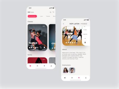 Dance Class App fitness dancers dance uxdesign ux clean minimal dailyui app ui design