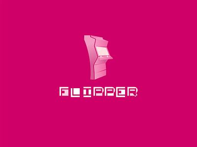 Flipper play pink logo games fliperama fliper branding arcade