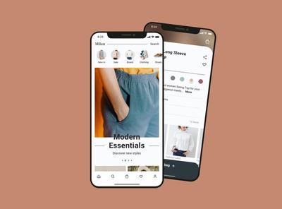 ứng dụng thời trang flat uxui animation branding ui ux design app