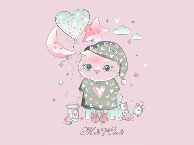 Cute Owl graphicdesign graphic girl bunny digitalart heart goodnight clouds moon pijama owl logo illustration flowers animals